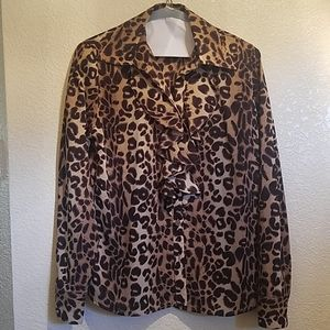 Animal Print Ruffle Front Blouse